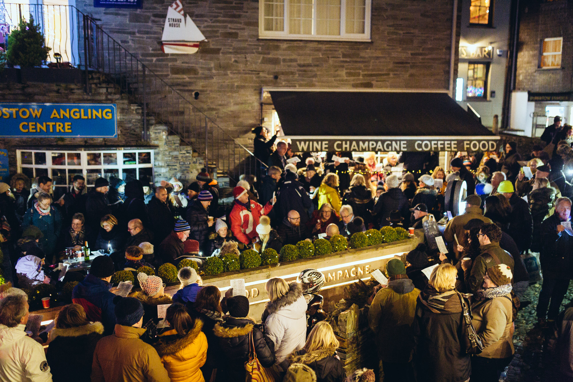 A group of people enjoying the Padstow Christmas Festival